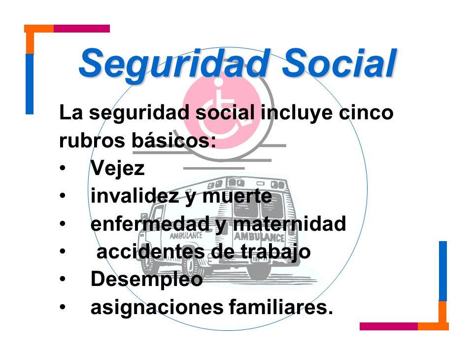 Seguridad Social La seguridad social incluye cinco rubros básicos: