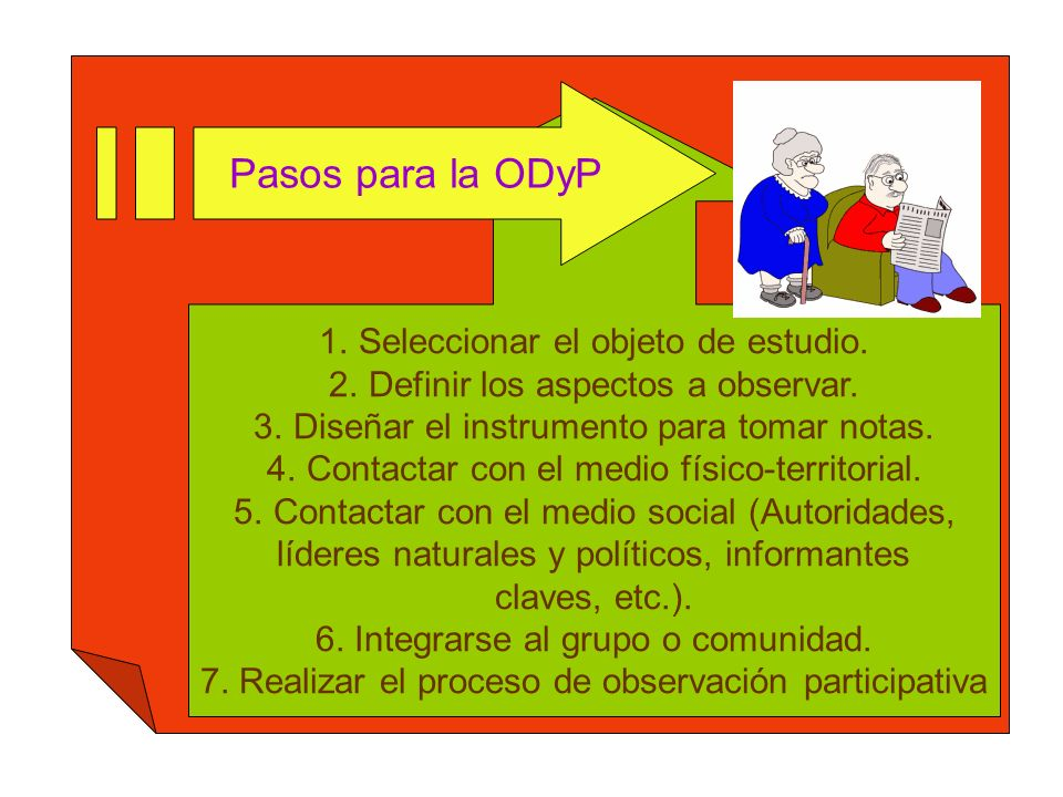 Pasos para la ODyP Seleccionar el objeto de estudio.