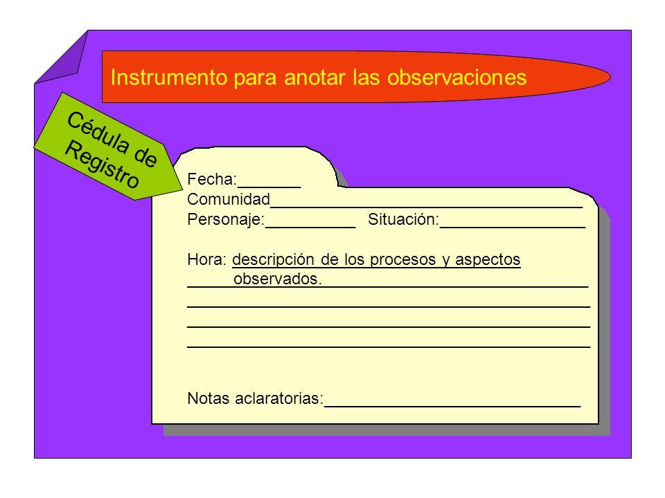 Instrumento para anotar las observaciones