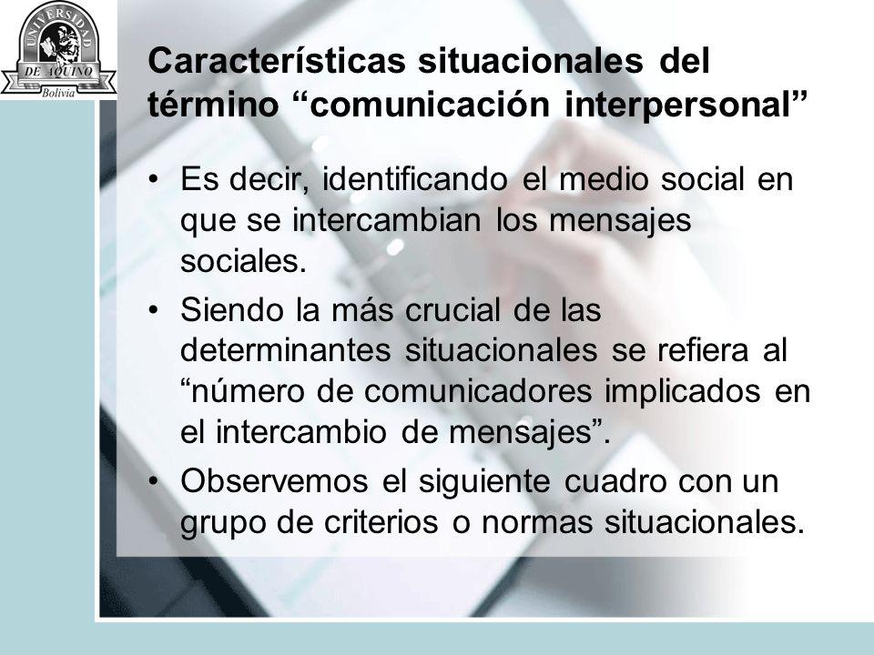 Características situacionales del término comunicación interpersonal
