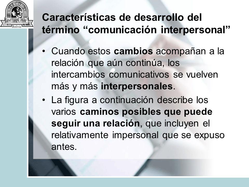Características de desarrollo del término comunicación interpersonal