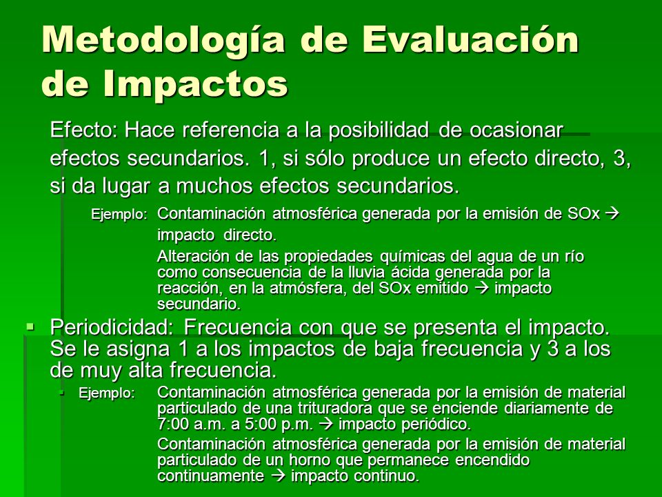 Metodología de Evaluación de Impactos