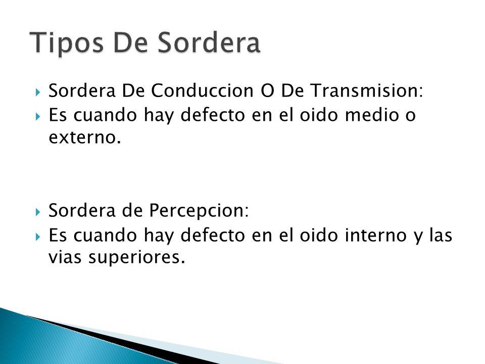 Tipos De Sordera Sordera De Conduccion O De Transmision: