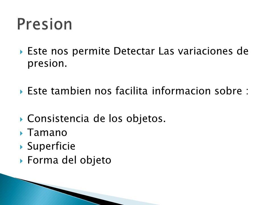 Presion Este nos permite Detectar Las variaciones de presion.