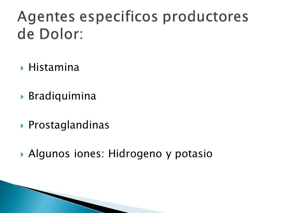 Agentes especificos productores de Dolor: