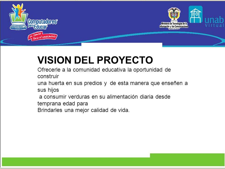 VISION DEL PROYECTOOfrecerle a la comunidad educativa la oportunidad de construir.