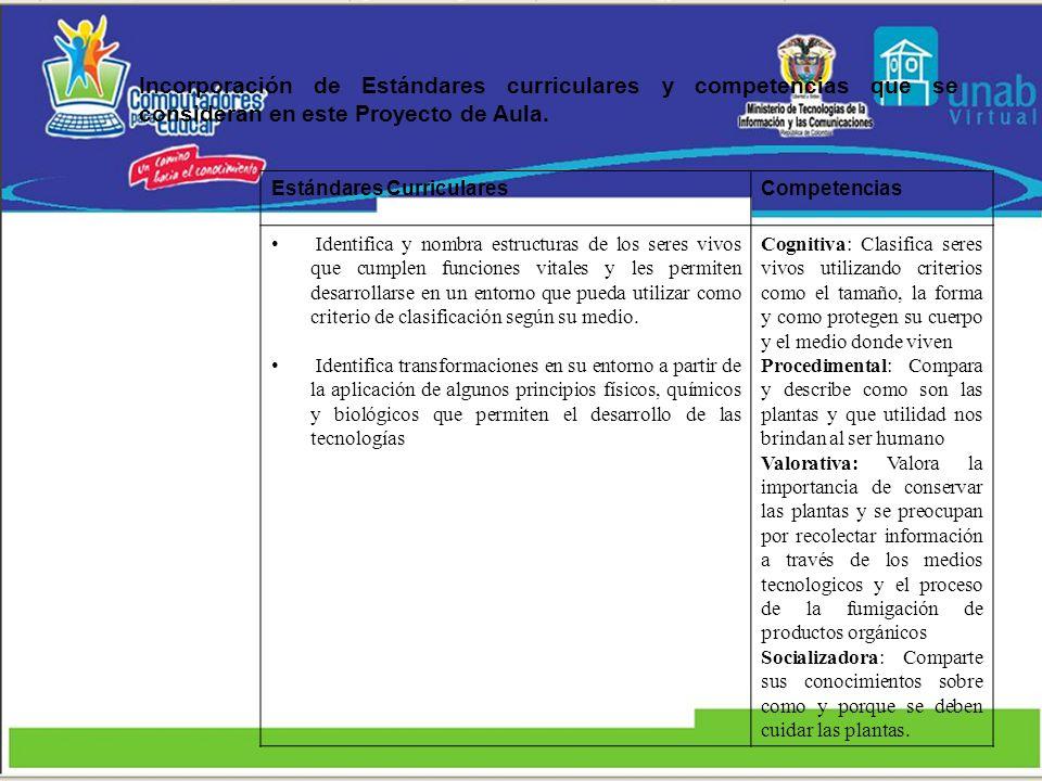 Incorporación de Estándares curriculares y competencias que se consideran en este Proyecto de Aula.