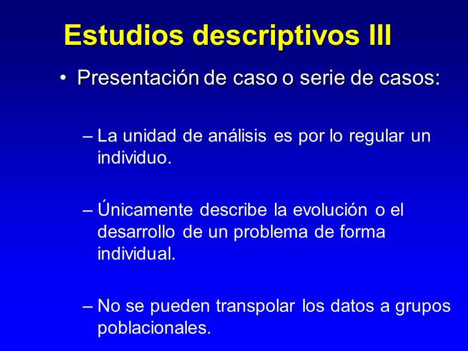 Estudios descriptivos III