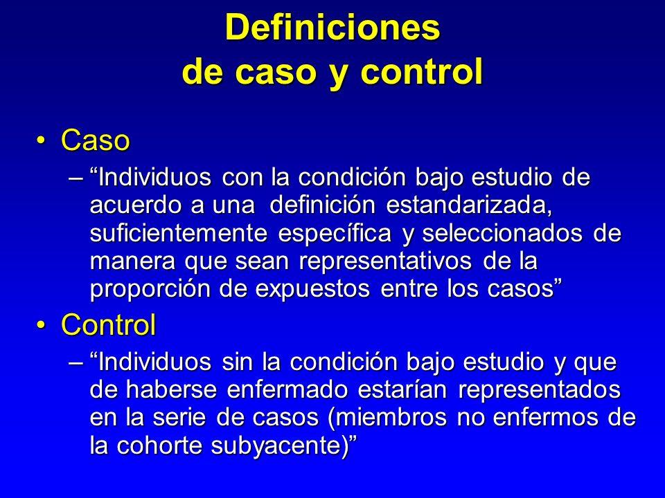 Definiciones de caso y control