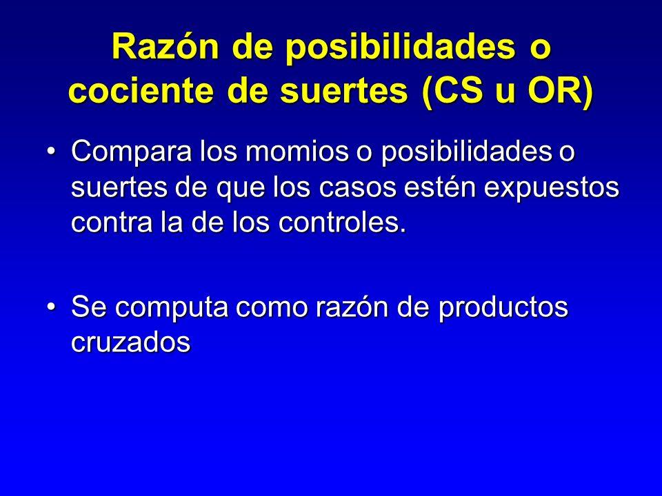 Razón de posibilidades o cociente de suertes (CS u OR)