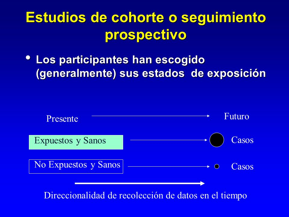 Estudios de cohorte o seguimiento prospectivo