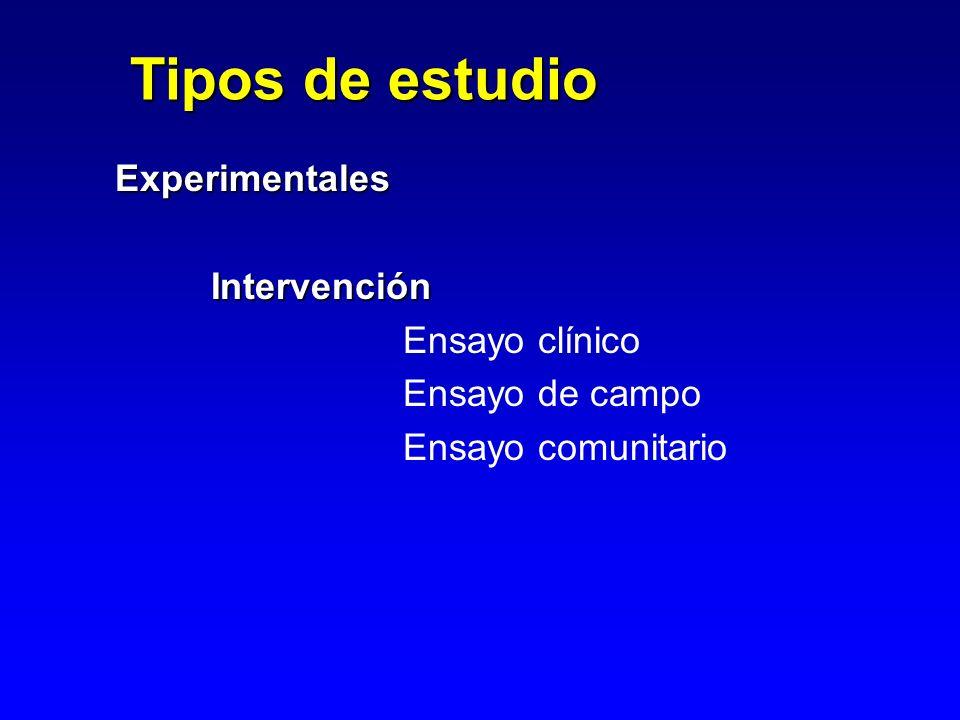 Tipos de estudio Experimentales Intervención Ensayo clínico Ensayo de campo Ensayo comunitario