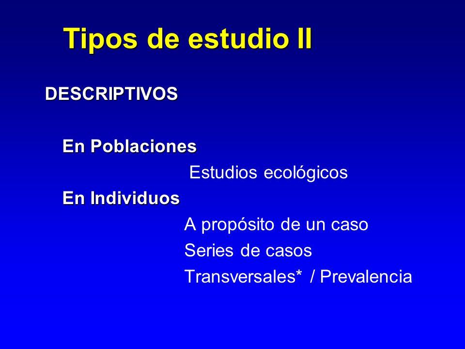 Tipos de estudio II DESCRIPTIVOS En Poblaciones Estudios ecológicos