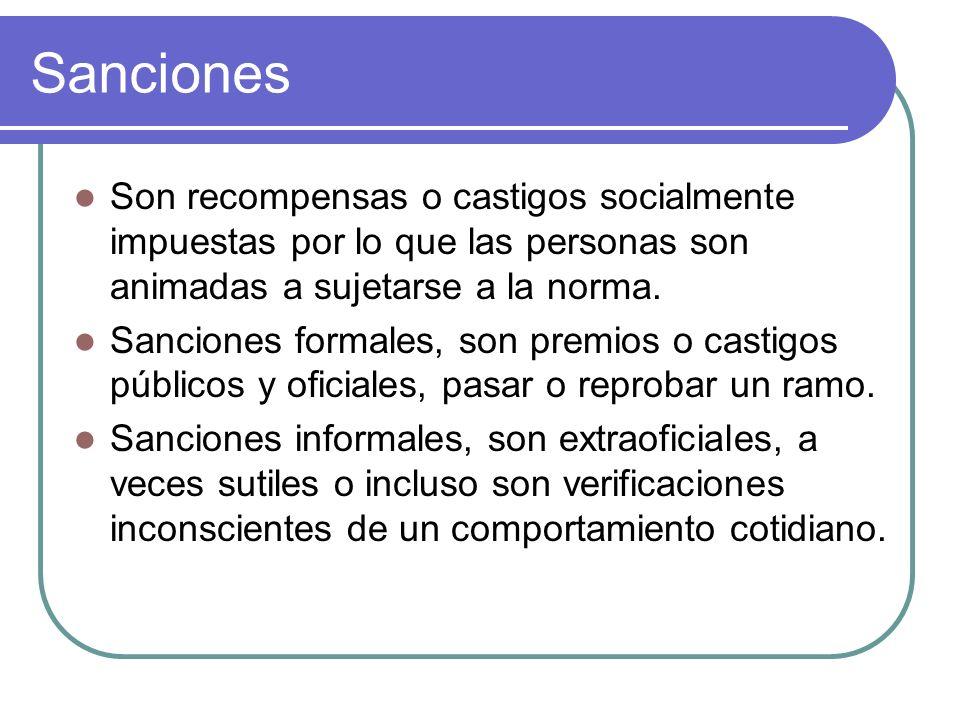 Sanciones Son recompensas o castigos socialmente impuestas por lo que las personas son animadas a sujetarse a la norma.