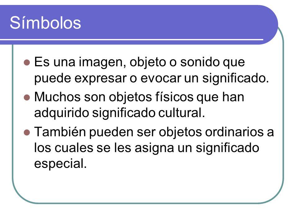 Símbolos Es una imagen, objeto o sonido que puede expresar o evocar un significado.