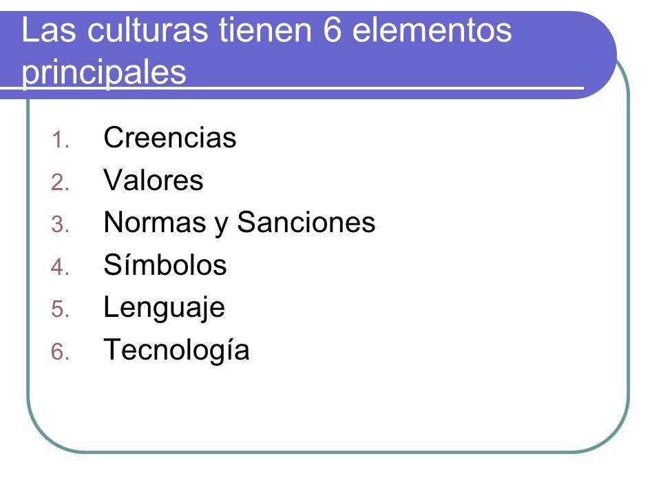 Las culturas tienen 6 elementos principales