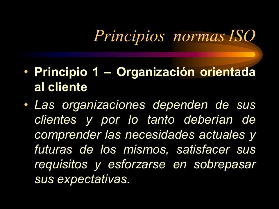 Principios normas ISO Principio 1 – Organización orientada al cliente