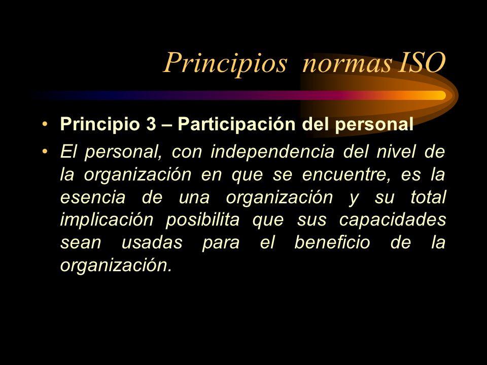 Principios normas ISO Principio 3 – Participación del personal