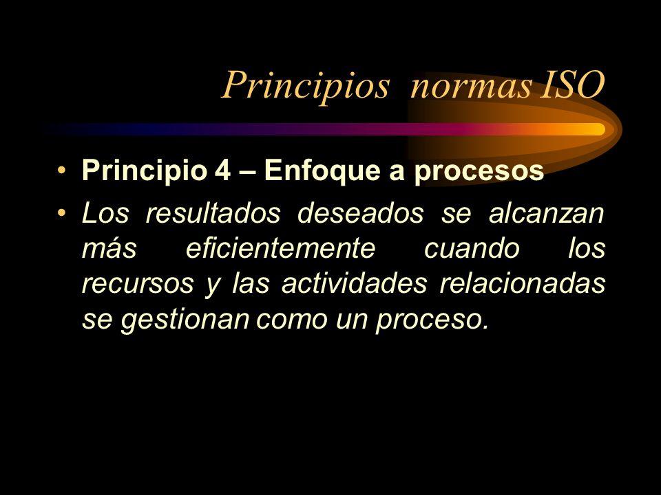 Principios normas ISO Principio 4 – Enfoque a procesos