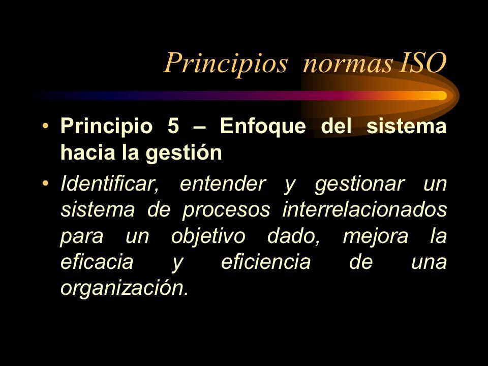 Principios normas ISO Principio 5 – Enfoque del sistema hacia la gestión.