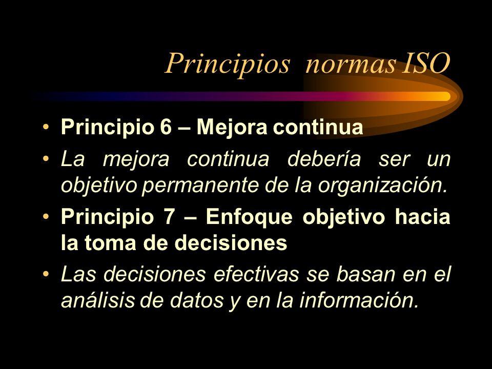 Principios normas ISO Principio 6 – Mejora continua