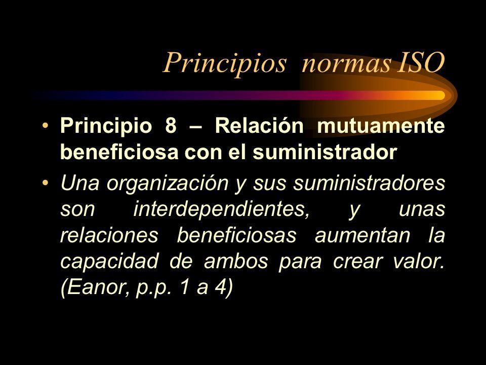 Principios normas ISO Principio 8 – Relación mutuamente beneficiosa con el suministrador.