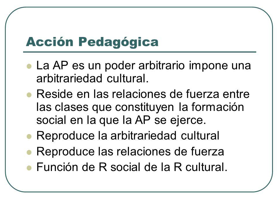 Acción Pedagógica La AP es un poder arbitrario impone una arbitrariedad cultural.