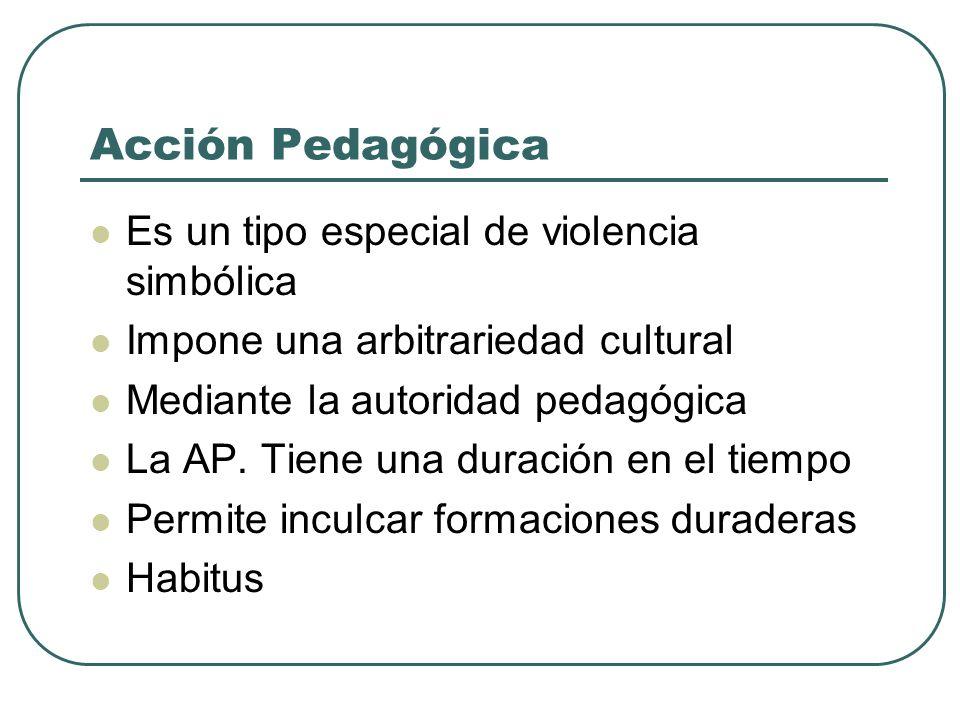 Acción Pedagógica Es un tipo especial de violencia simbólica