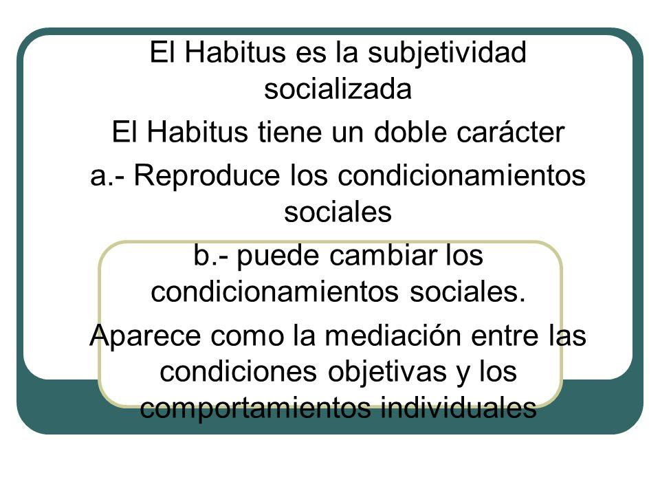 El Habitus es la subjetividad socializada