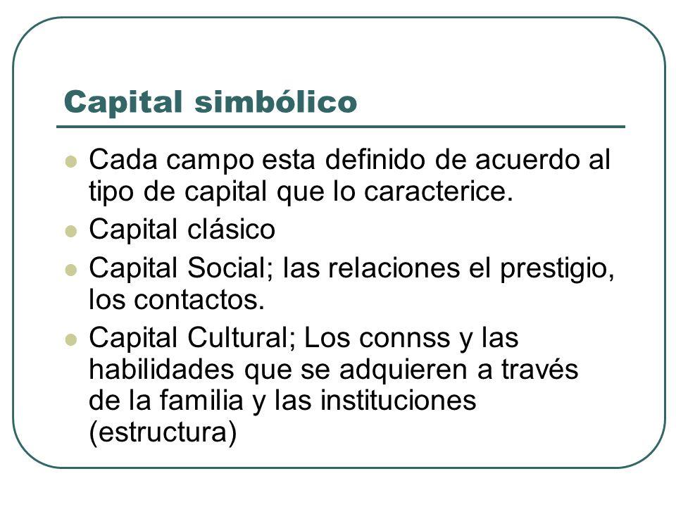 Capital simbólico Cada campo esta definido de acuerdo al tipo de capital que lo caracterice. Capital clásico.