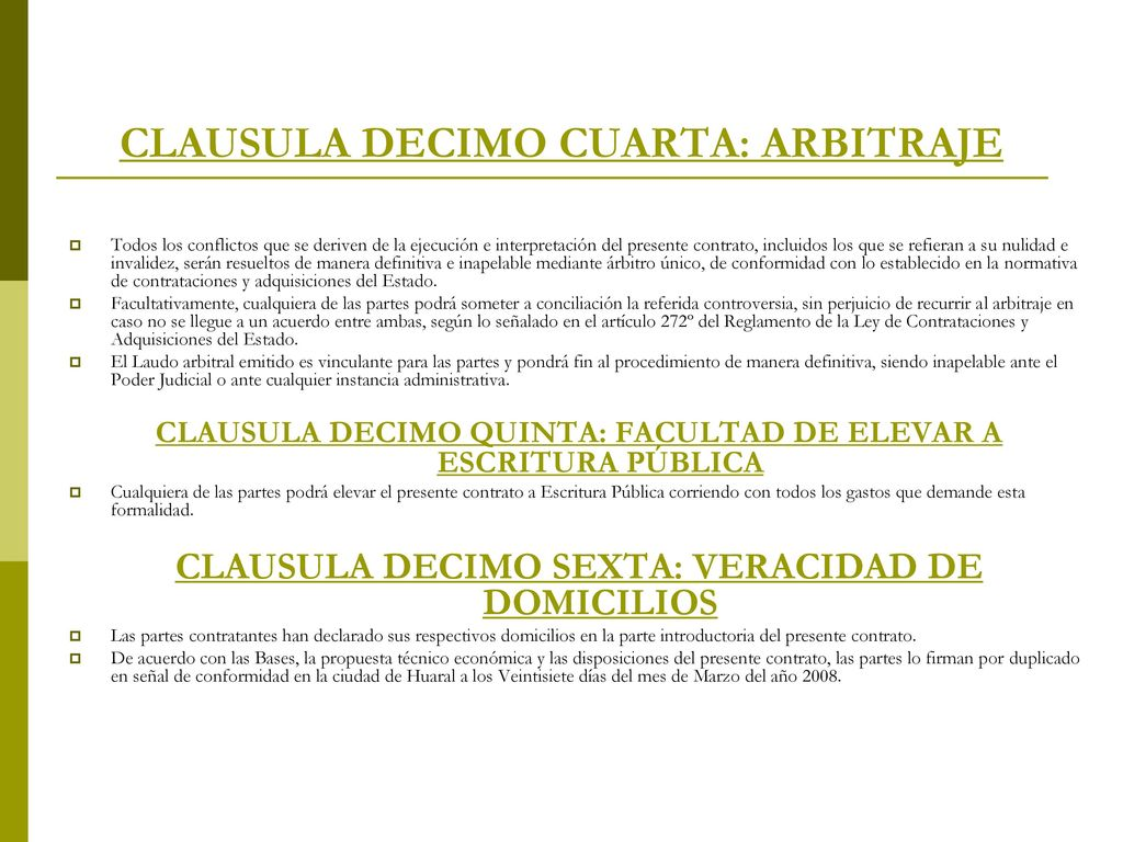 Contrato de suministro ppt descargar for Clausula suelo firma acuerdo privado