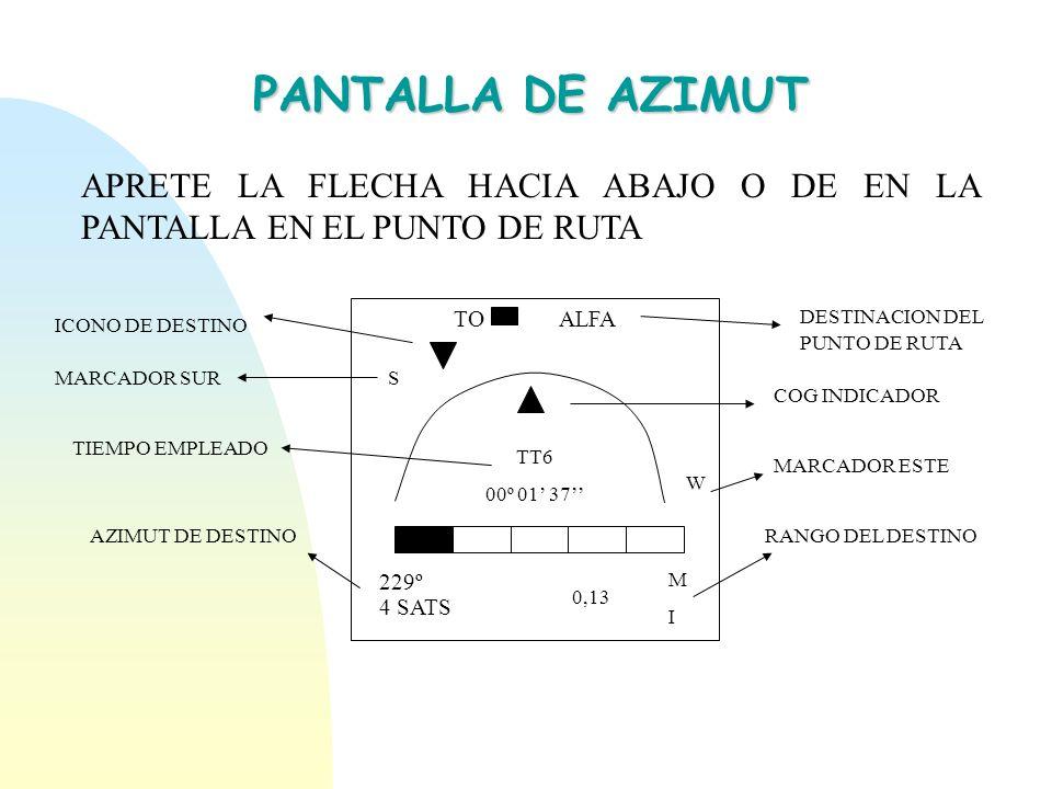 PANTALLA DE AZIMUT APRETE LA FLECHA HACIA ABAJO O DE EN LA PANTALLA EN EL PUNTO DE RUTA. TO ALFA. TT6.