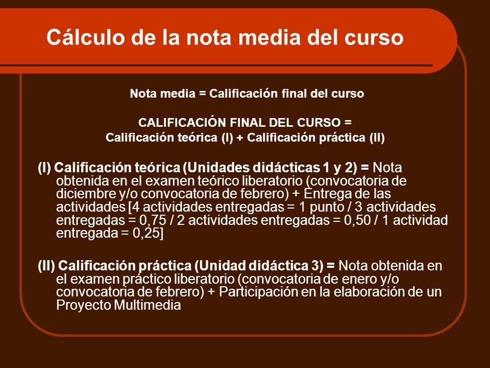 Cálculo de la nota media del curso