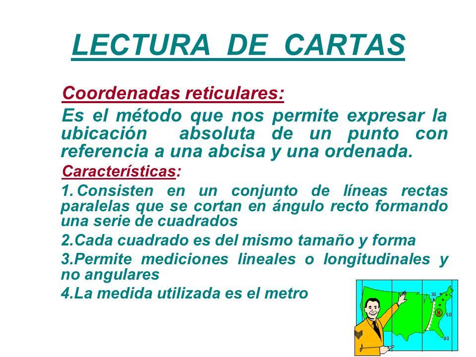 LECTURA DE CARTAS Coordenadas reticulares:
