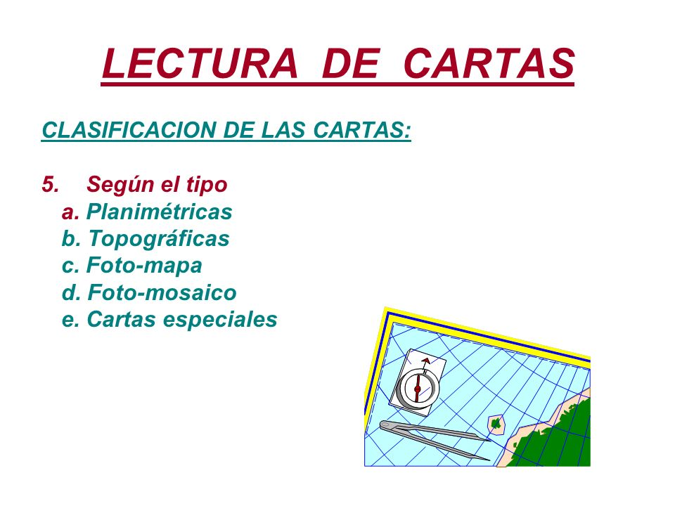 LECTURA DE CARTAS CLASIFICACION DE LAS CARTAS: Según el tipo