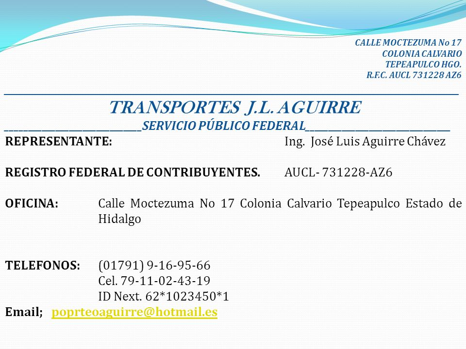 TRANSPORTES J.L. AGUIRRE