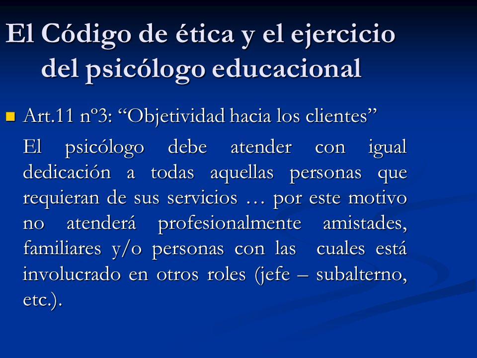 El Código de ética y el ejercicio del psicólogo educacional