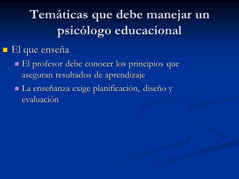 Temáticas que debe manejar un psicólogo educacional