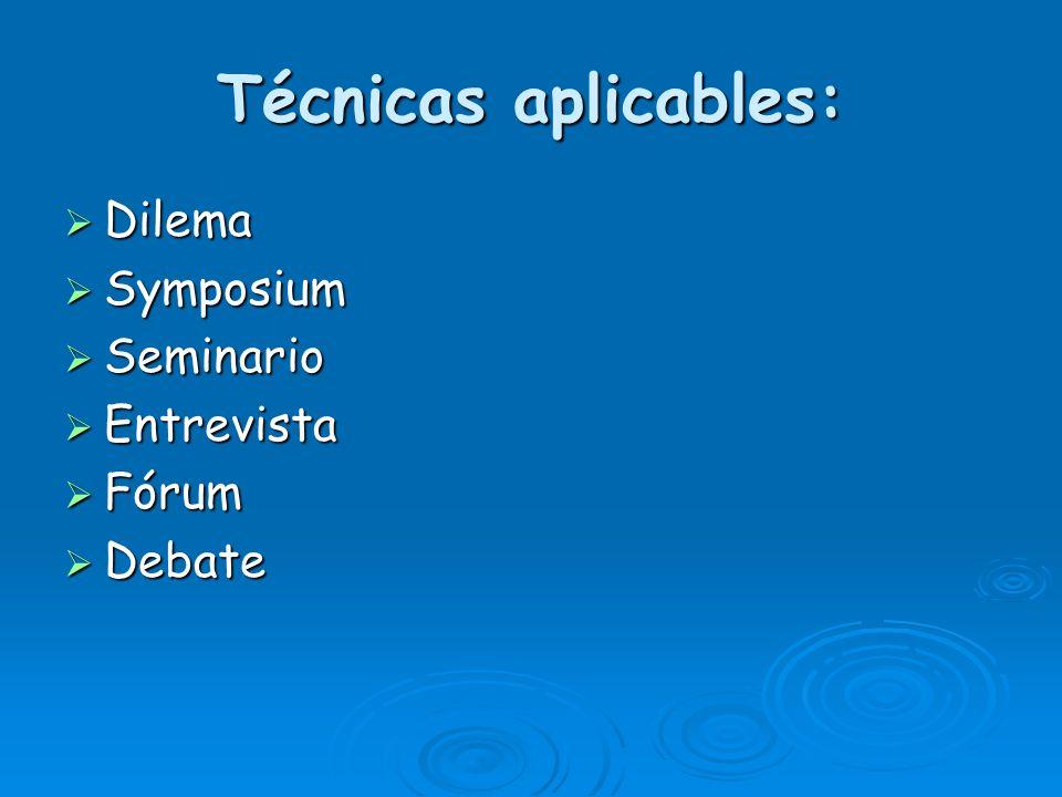 Técnicas aplicables: Dilema Symposium Seminario Entrevista Fórum