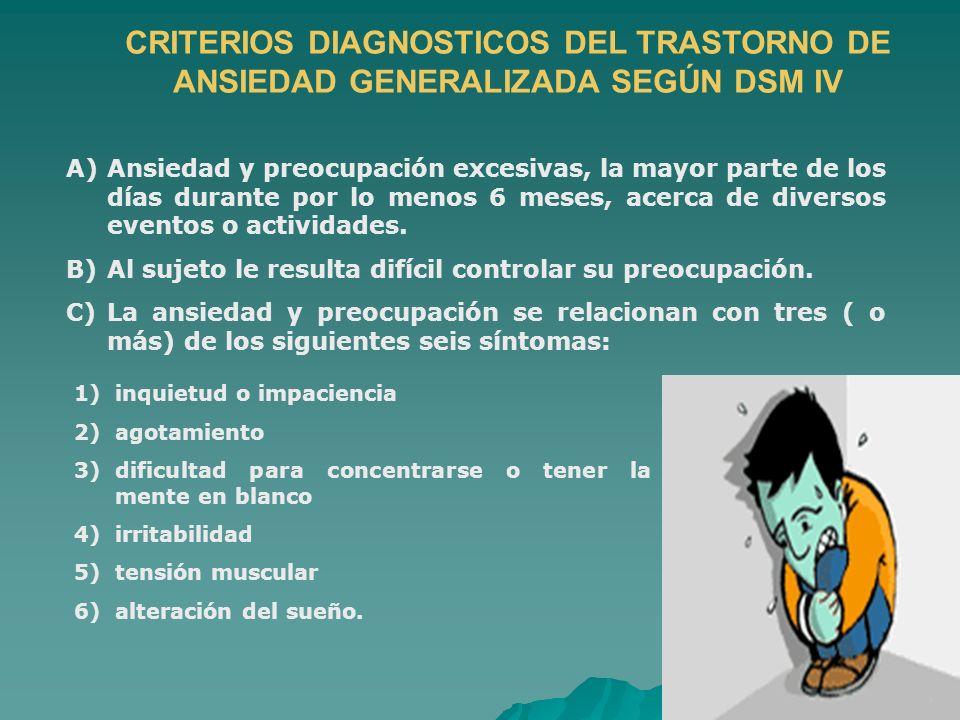 CRITERIOS DIAGNOSTICOS DEL TRASTORNO DE ANSIEDAD GENERALIZADA SEGÚN DSM IV