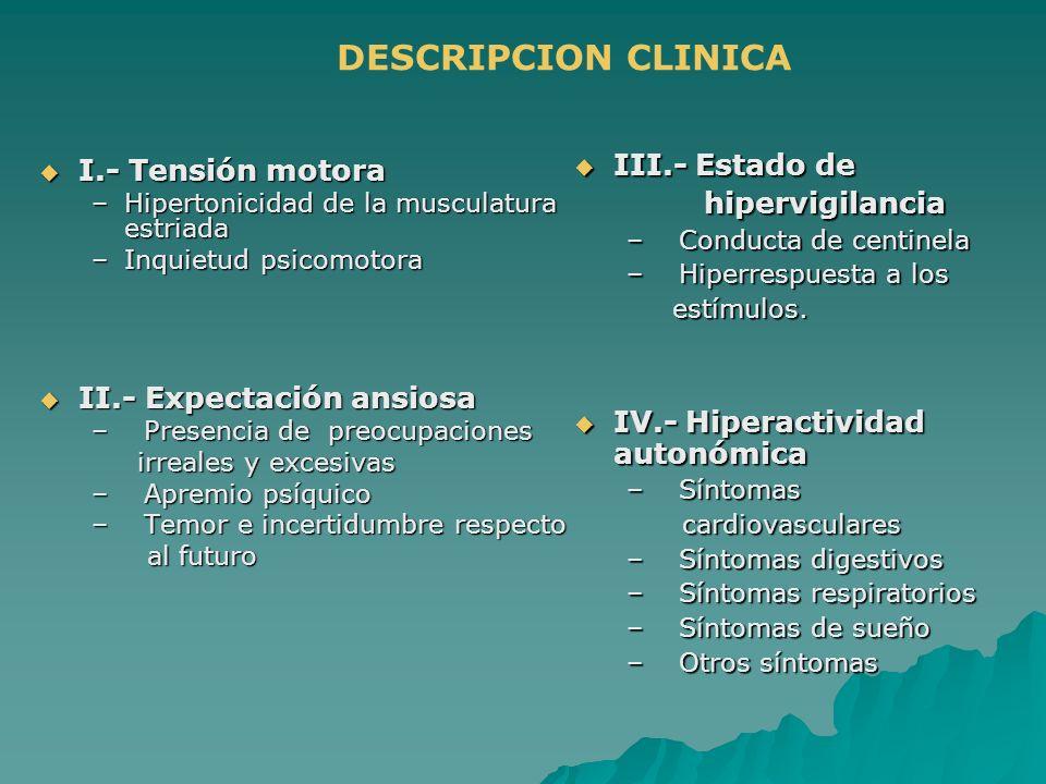 DESCRIPCION CLINICA III.- Estado de I.- Tensión motora hipervigilancia