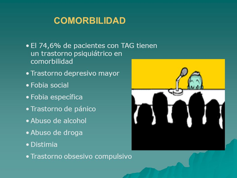 COMORBILIDADEl 74,6% de pacientes con TAG tienen un trastorno psiquiátrico en comorbilidad. Trastorno depresivo mayor.