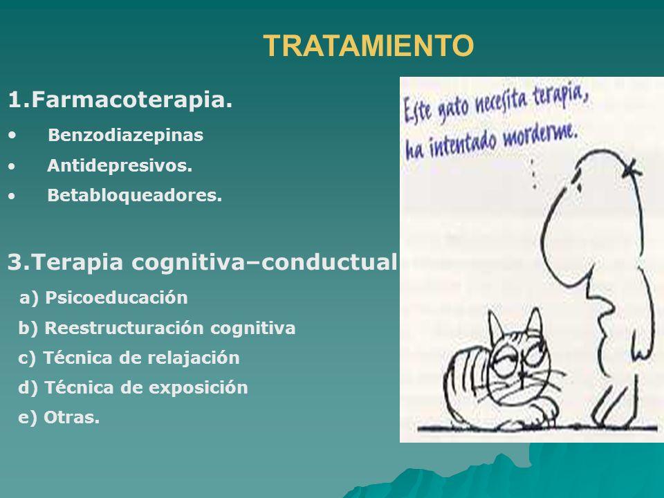 TRATAMIENTO 1.Farmacoterapia. 3.Terapia cognitiva–conductual