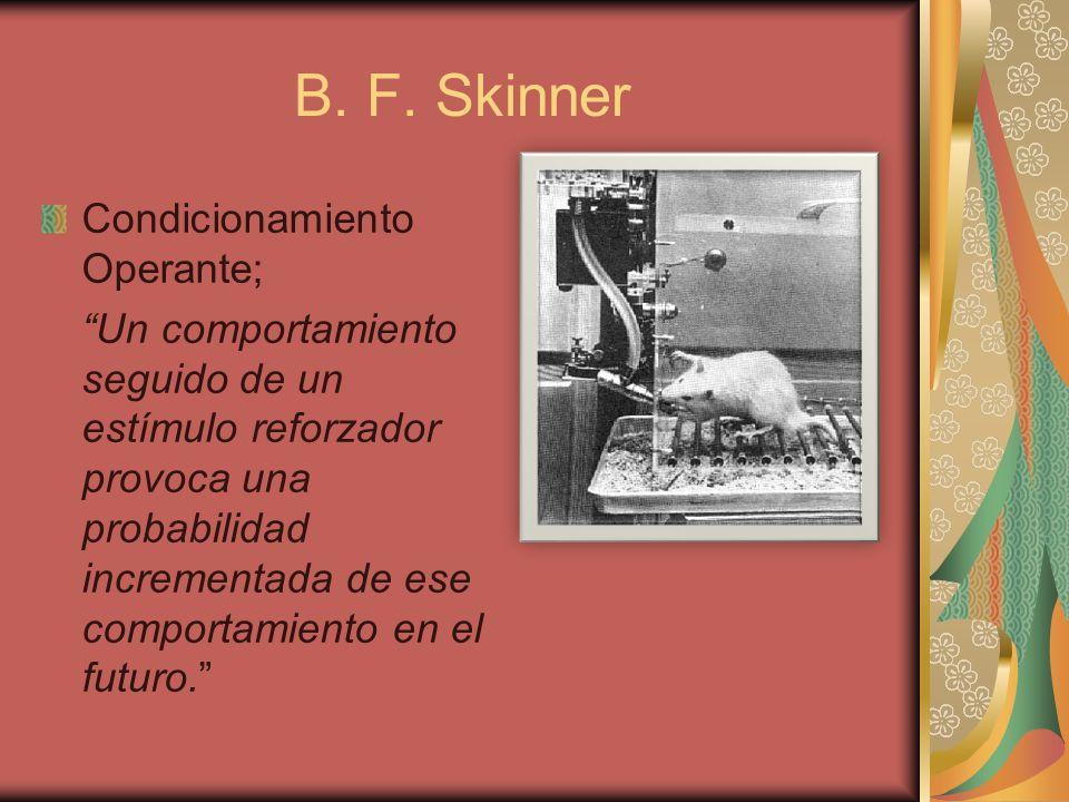 B. F. Skinner Condicionamiento Operante;