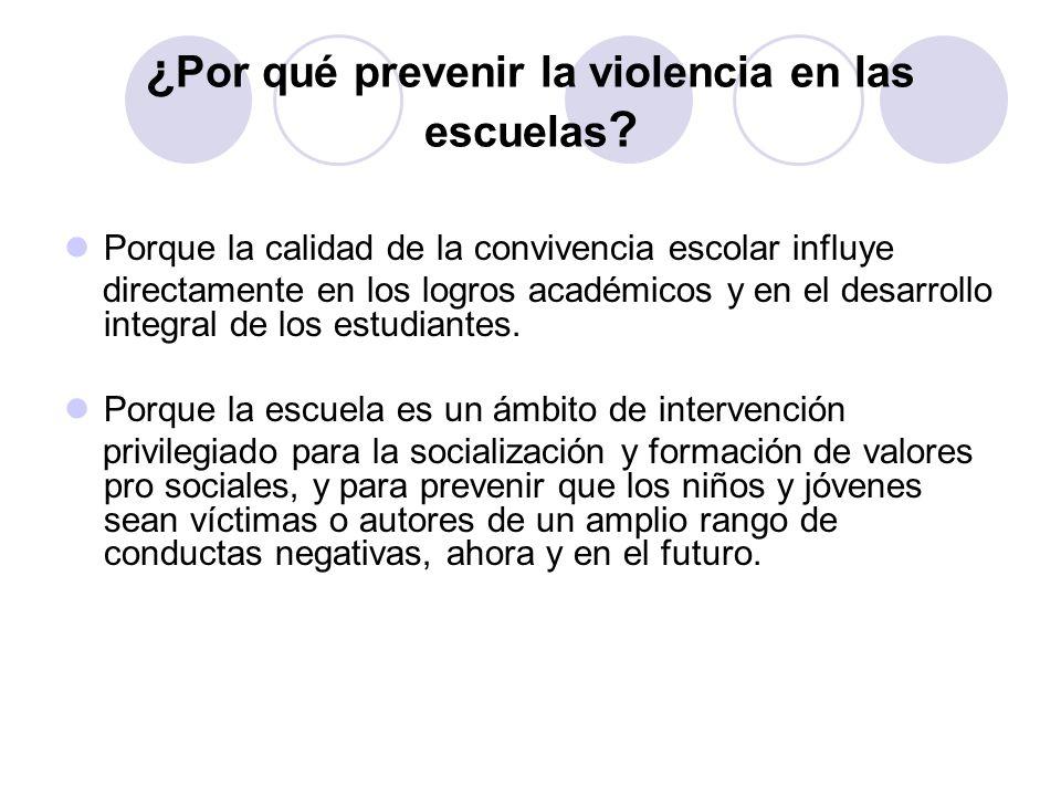 ¿Por qué prevenir la violencia en las escuelas