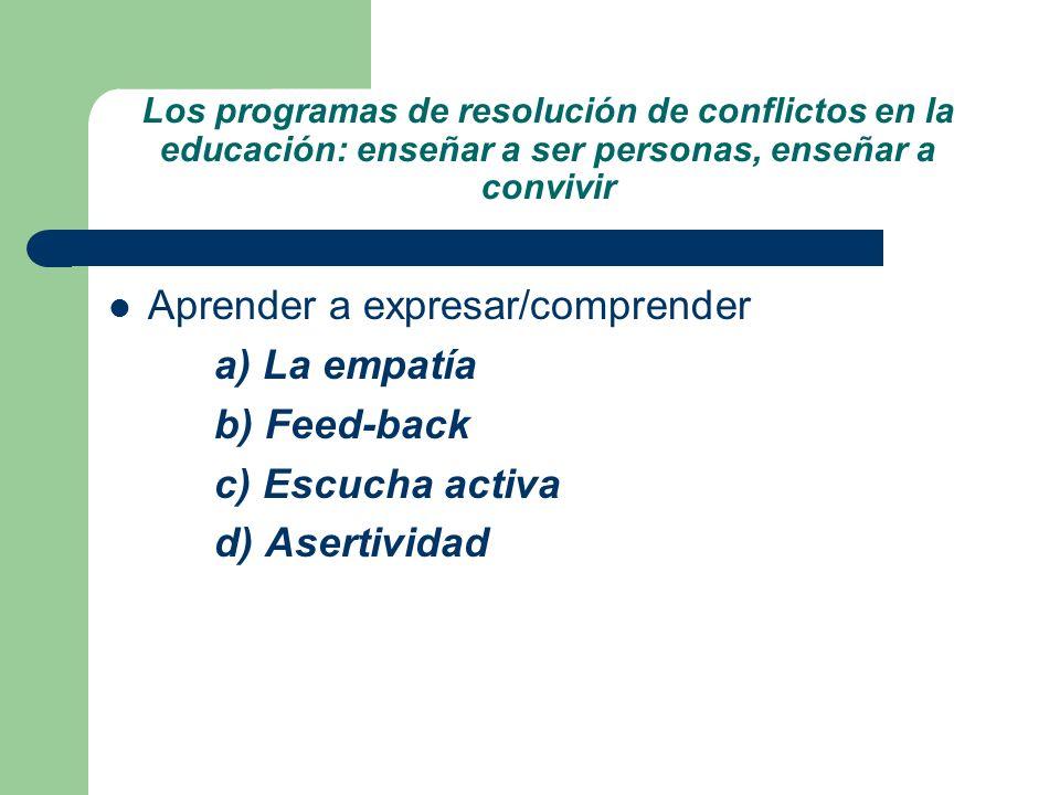 Aprender a expresar/comprender a) La empatía b) Feed-back