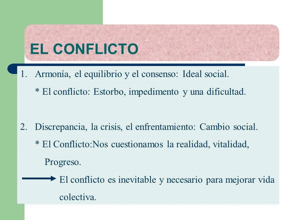 EL CONFLICTO Armonía, el equilibrio y el consenso: Ideal social.