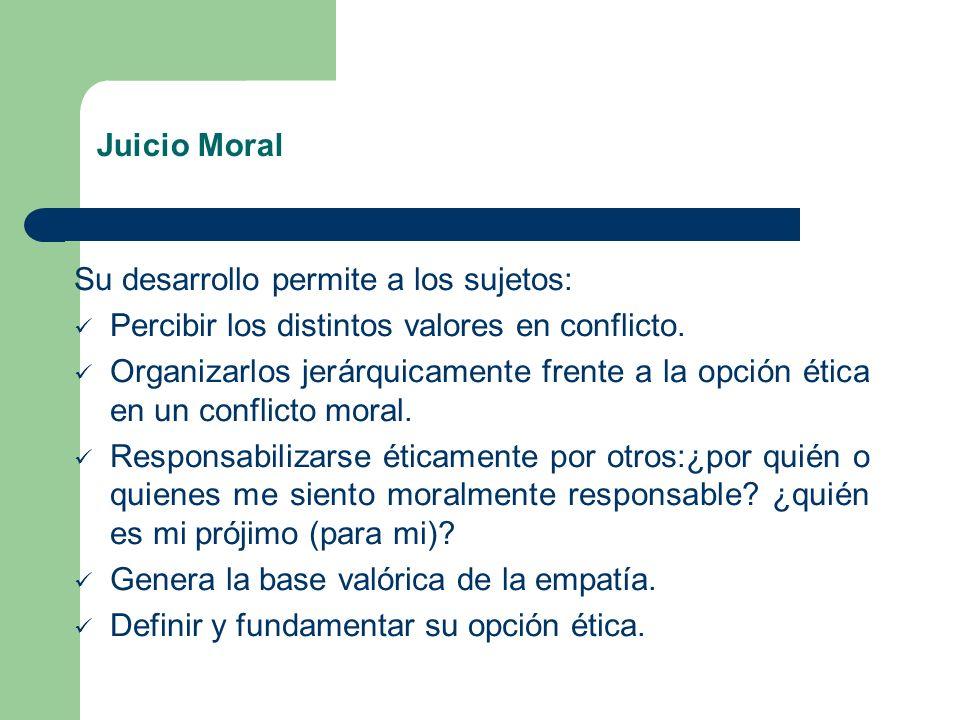 Juicio Moral Su desarrollo permite a los sujetos: Percibir los distintos valores en conflicto.