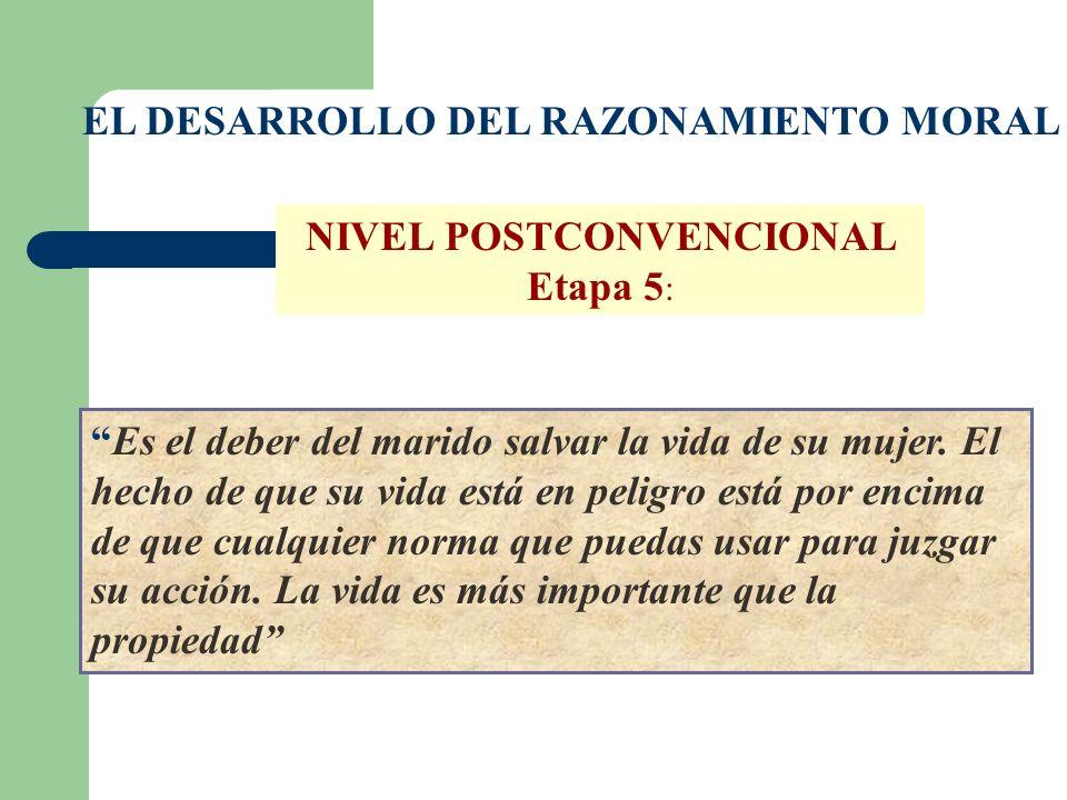NIVEL POSTCONVENCIONAL Etapa 5: