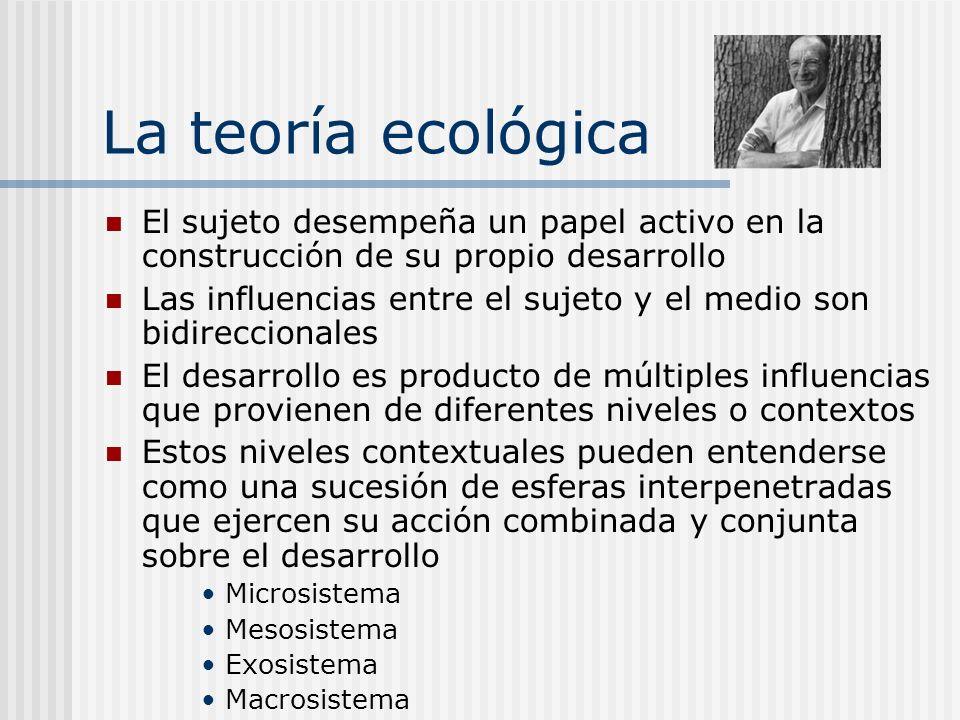 La teoría ecológica El sujeto desempeña un papel activo en la construcción de su propio desarrollo.